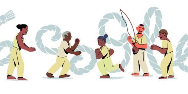 Nesta sexta-feira (23), logo clássico do buscador exibe performance de capoeiristas em frente à palavra