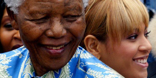 Nelson Mandela e Beyoncé em encontro descrito pela cantora na Cidade do Cabo, em