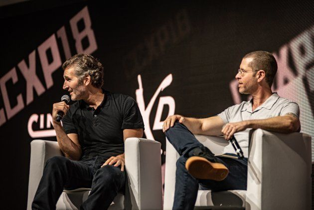 Os criadores da série, David Benioff e Dan Weiss, no painel de 'Game of Thrones' na CCXP
