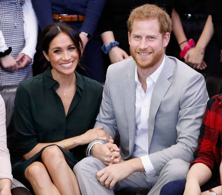 Meghan, Duchess of Sussex, and Prince Harry, Duke of Sussex, make an official visit to Sussex on Oct. 3, 2018.