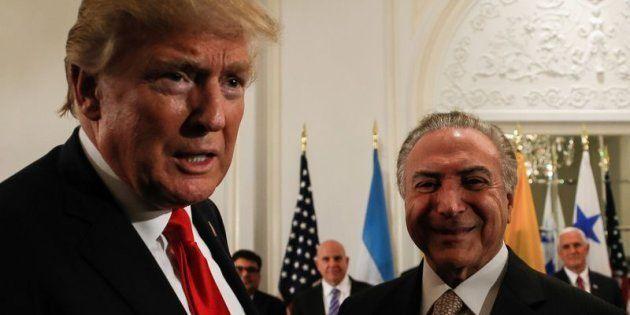 Donald Trump e Michel Temer em jantar com líderes da