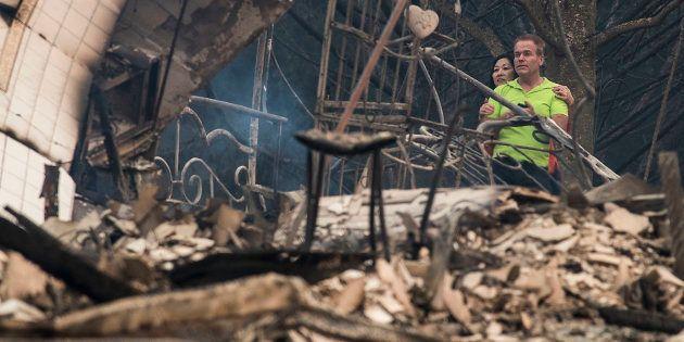 Foto área da destruição dos