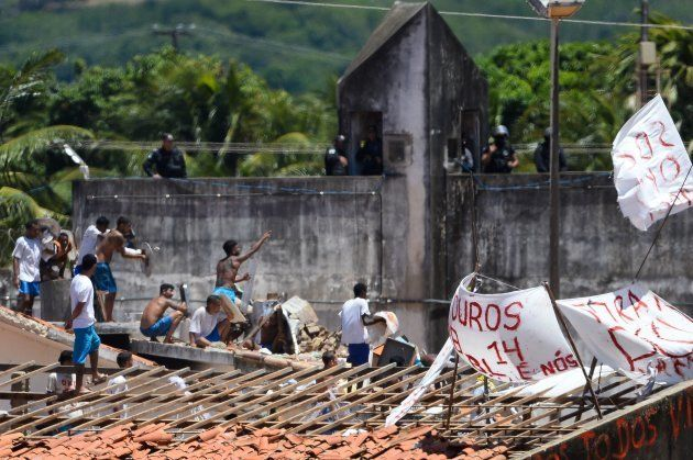 Rebelião no Centro Penitenciário de Alcaçuz, perto de Natal, no Rio Grande do