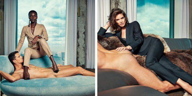 Em seus novos anúncios, a Suitstudio mostra mulheres totalmente vestidas ao lado de homens completamente