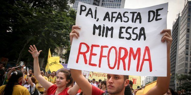 Protesto em São Paulo contra reforma da