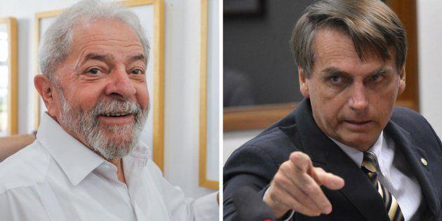 Pesquisa Datafolha mostra que 6% dos eleitores de Lula (à esquerda) migram para o deputado Jair Bolsonaro...