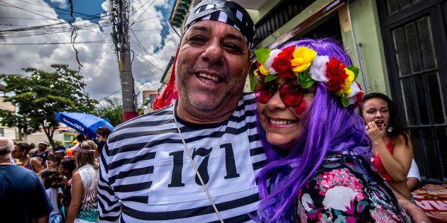 Bloco de carnaval Esfarrapados, no centro de São