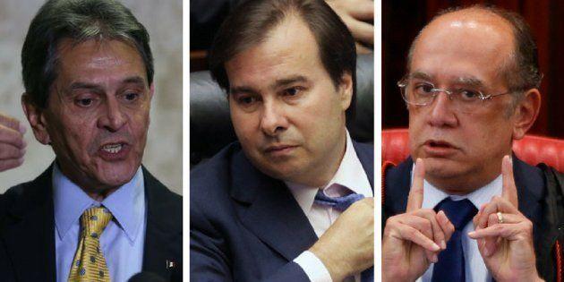 Ex-deputado Roberto Jefferson, presidente da Câmara, Rodrigo Maia, e ministro do STF (Supremo Tribunal...