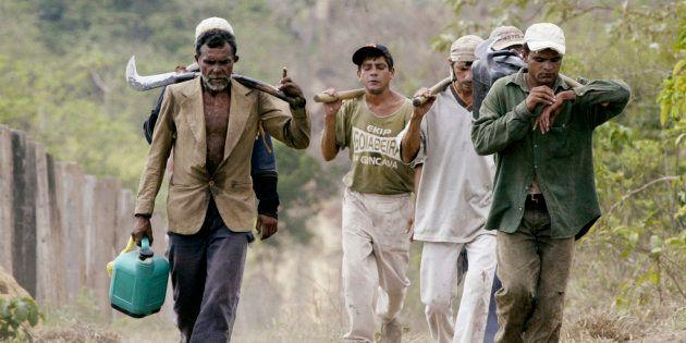 Trabalhadores em condições análogas ao trabalho escravo em na fazenda Bom Jesus, na Floresta Amazônica,...