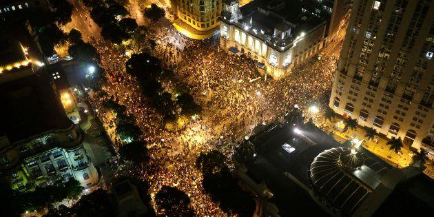 Protesto no Rio de Janeiro em outubro de