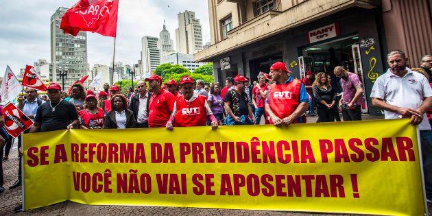 Protesto de sindicatos contra a reforma da Previdência em dezembro de