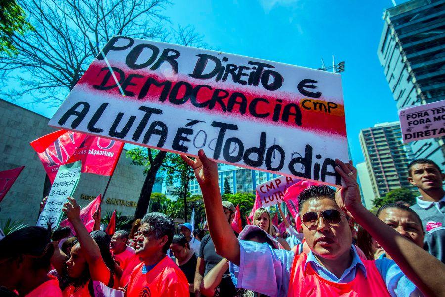 Protesto contra as reformas do governo de Michel Temer em setembro de