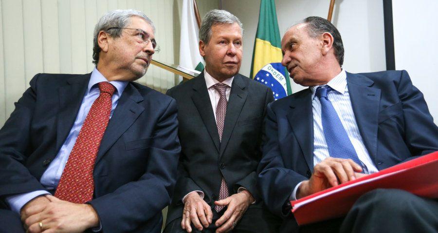Em junho de 2017, Antônio Imbassahy, Arthur Virgílio e Aloysio Nunes em reunião da Executiva Nacional...
