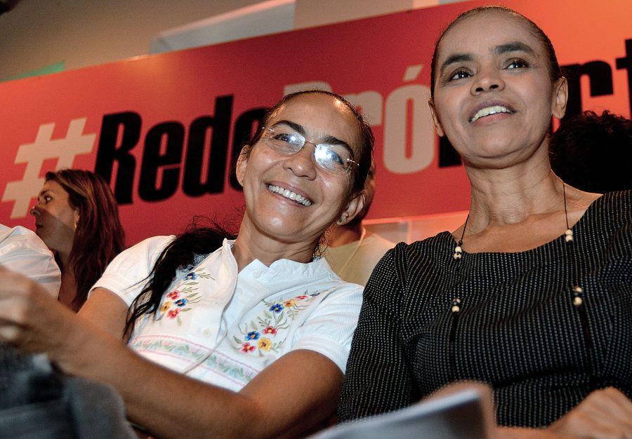 Heloísa Helena e Marina Silva em evento da Rede em 2013; ambas são ex-integrantes do