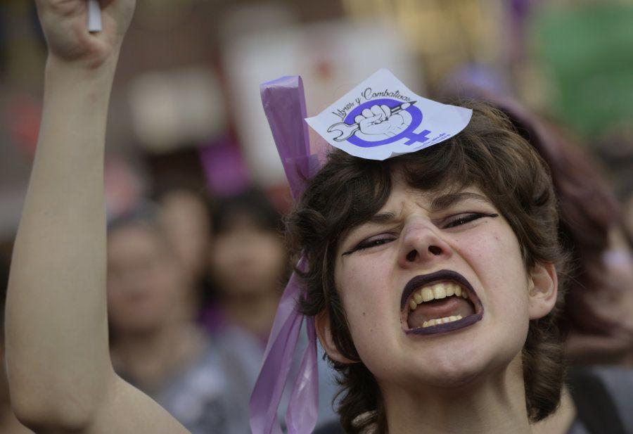 Manifestação no Dia Internacional da Mulher, na