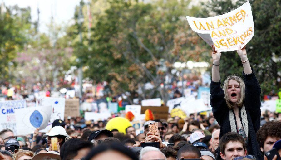 Centro de Los Angeles, na Califórnia, também reuniu milhares de manifestantes na Marcha pelas nossas