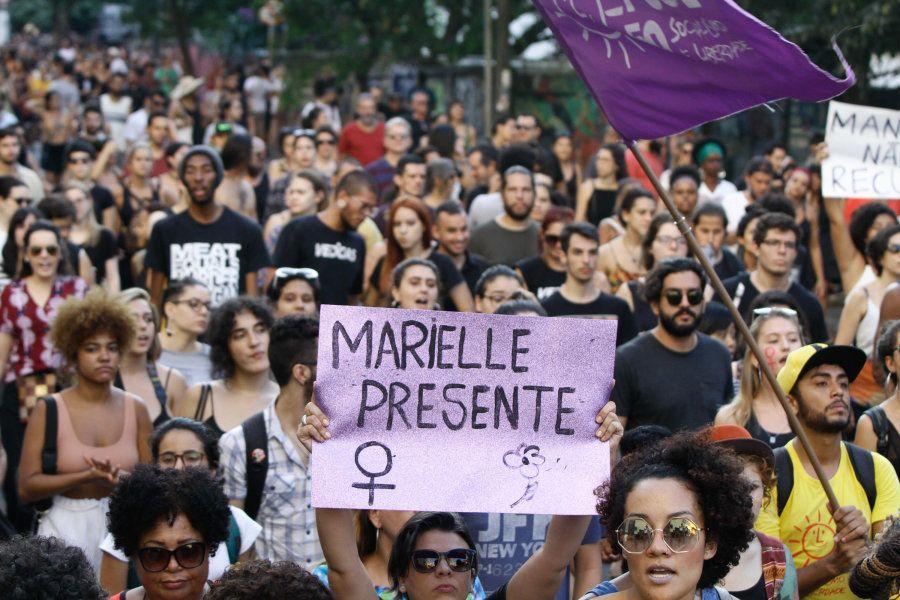 Protestos contra o assassinato de Marielle e em defesa dos direitos humanos tomaram as ruas de diversas...