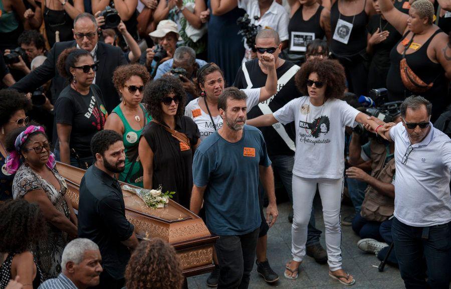 Marcelo Freixo no funeral de Marielle, em 15 de