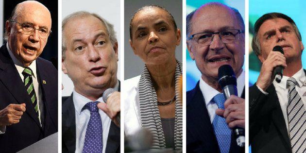 Henrique Meirelles, Ciro Gomes, Marina Silva, Geraldo Alckmin e Jair