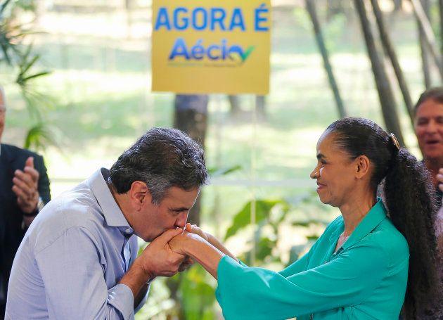 Aécio Neves recebe o apoio de Marina Silva no segundo turno das eleições de