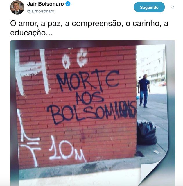 Bolsonaro expõe ataques nas redes sociais e ironiza: 'Com o amor se combate o