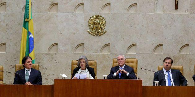 Eunício Oliveira, Cármen Lúcia, Michel Temer e Rodrigo Maia, em evento no STF em