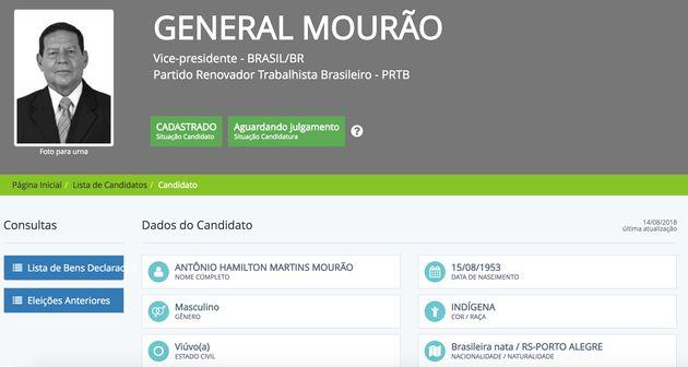 General Mourão se autodeclara indígena ao TSE após fala