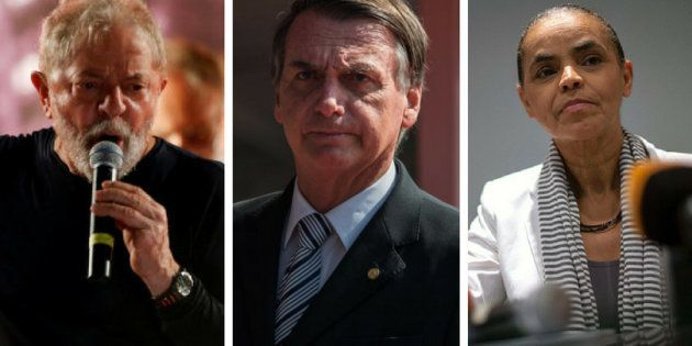 Lula (PT), Jair Bolsonaro (PSL) e Marina Silva