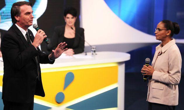 Bolsonaro é pressionado por Marina Silva durante debate da RedeTV!, em 17 de