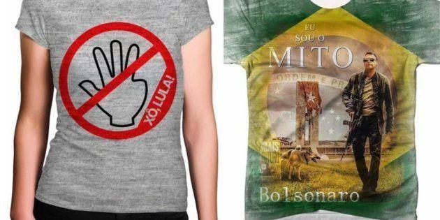 Camisetas anti-Lula e pró-Bolsonaro foram vendidas pelo site das Lojas