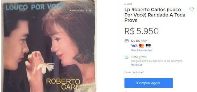 Primeiro disco de Roberto Carlos custa quase R$ 6 mil. Já o CD com o mesmo título é negociado por R$