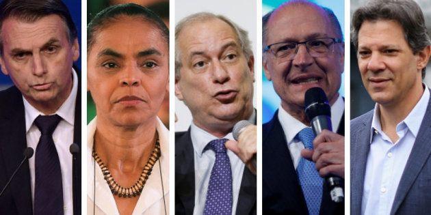 Jair Bolsonaro, Marina Silva, Ciro Gomes, Geraldo Alckmin e Fernando