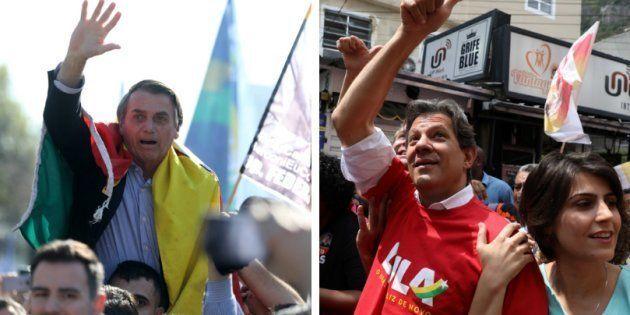 De acordo com pesquisa Datafolha, Bolsonaro tem 26% das intenções de voto e Fernando Haddad,