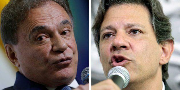 Alvaro Dias, do Podemos, e Fernando Haddad, do PT, protagonizaram um dos principais embates do debate...