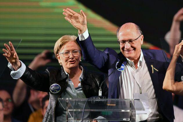 Ana Amélia e Geraldo Alckmin na convenção do PSDB que lançou a chapa, em 4 de