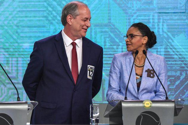 Ciro Gomes e Marina Silva no debate da Record, ambos com a flecha apontada contra Haddad e
