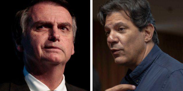 Jair Bolsonaro e Fernando Haddad são os líderes em intenção de voto no primeiro