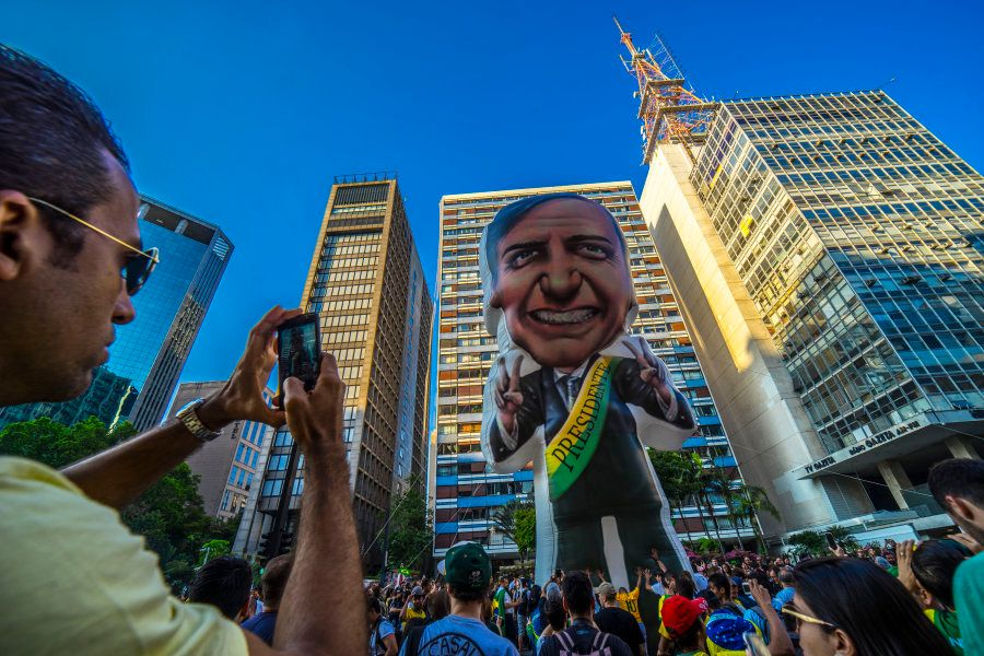Ato de apoio a Bolsonaro na Avenida Paulista, em São Paulo, em
