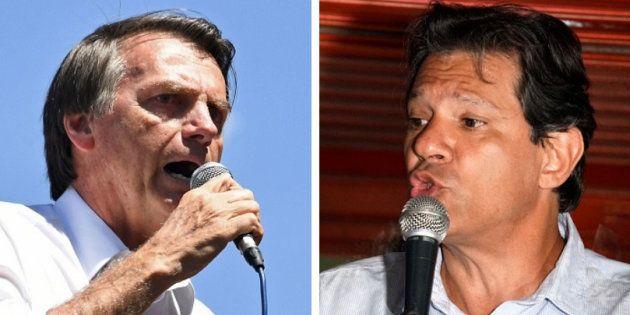 Jair Bolsonaro (PSL) e Fernando Haddad (PT) estão no segundo