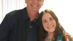 Regina Duarte visita Jair Bolsonaro no