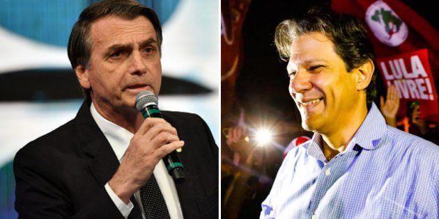 Cai diferença entre Jair Bolsonaro (PSL) e Fernando Haddad (PT), segundo