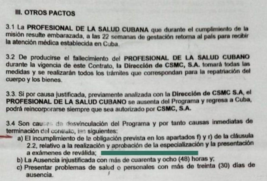Parte do contrato entre profissionais médicos cubanos e a empresa