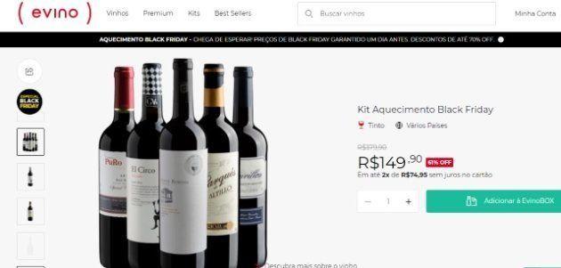 Kit de vinhos tintos da Evino está com preço