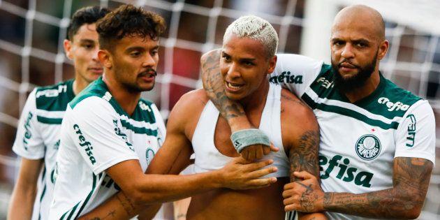 Gustavo Scarpa, Deyverson e Felipe Melo (da esq. para a dir.): Trio de talentos do Palmeiras