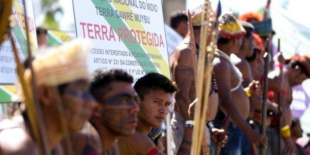 Ato pela demarcação de terras indígenas em abril deste ano, em