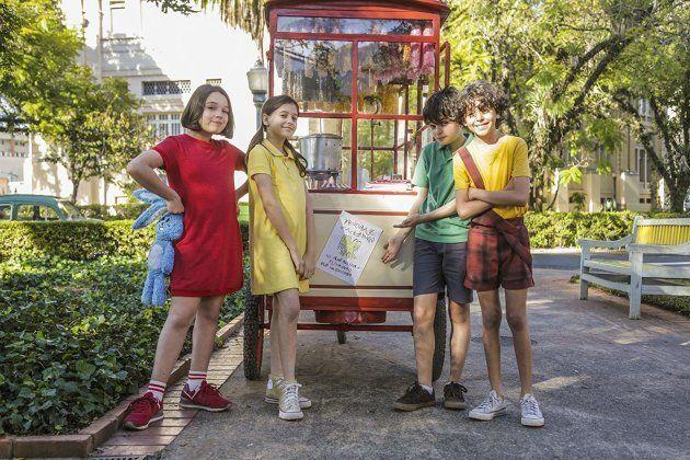 Mônica (Giulia Benitte), Magali (Laura Rauseo), Cebolinha (Kevin Vechiatto) e Cascão (Gabriel Moreira)...