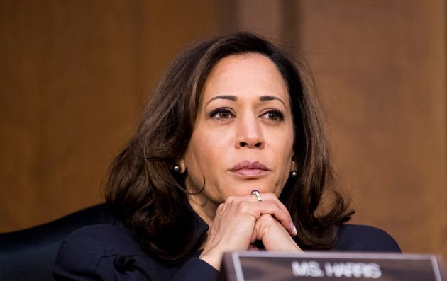Sen. Kamala Harris (D-Calif.) listens during a Senate Judiciary Committee hearing on homeland security...