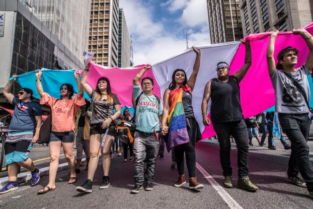 A group of protesters protested in favor of transsexual visibility on Avenida Paulista, in the central...