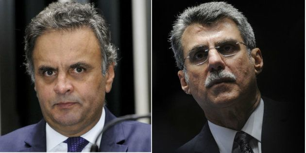 Os senadores Aécio Neves (PSDB-MG), presidente do partido, e Romero Jucá (PMDB-RR), líder do governo...