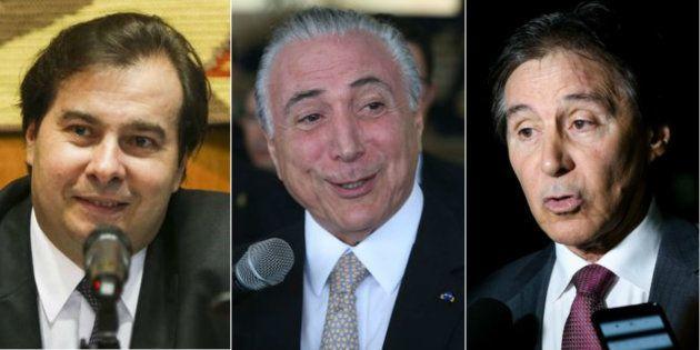 Presidente da Câmara, Rodrigo Maia, da República, Michel Temer, e do Senado, Eunício